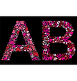 letter a b valentine alphabet vector image