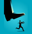businessman runs from giant foot vector image