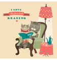 Cat and kitten reading book vector image