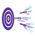 darts fly to the target lineart vector image