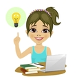 girl doing her homework with laptop having idea vector image