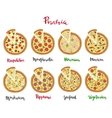 Set of pizza and hand vector image