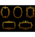 Set of vintage golden frames vector image