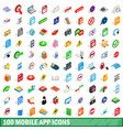 100 mobile app icons set isometric 3d style vector image