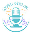 greeting card world radio day vector image vector image