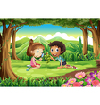 A forest with two kids studying the growing plant vector image vector image