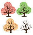 four trees with leaves vector image