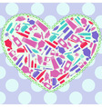 heart with makeup attributes vector image