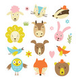 cute cartoon animals set vector image