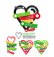 love heart linear style icons 3d cut out vector image vector image