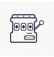 Slot mashine simple line icon one arm bandit thin vector image