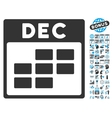 December Calendar Page Flat Icon With Bonus vector image
