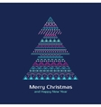 Greeting card with colored Christmas tree in vector image
