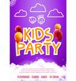 Kids party art flyer design Balloons design poster vector image