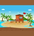lifeguard house on the beach vector image
