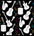 Musical seamless pattern with instruments vector image