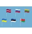 National flags of Russia Ukraine Belarus Latvia vector image