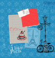 Paris Vintage Card with Stamps vector image vector image