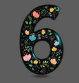black glared number six with watercolor flowers vector image