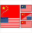 China and United States Flags vector image