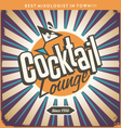 Retro tin sign design for cocktail lounge vector image vector image