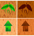 set from icons of the house against a wooden struc vector image
