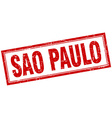 Sao Paulo red square grunge stamp on white vector image
