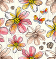 Flower seamless texture watercolor vector image