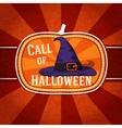 Pumpkin shape retro stylized badge violet witch vector image