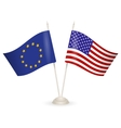 Table stand with flags of EU and USA vector image