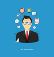time management flat office man with icons vector image