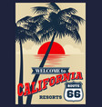 vintage california summer poster retro t vector image