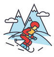 winter travel skier skiing in high mountains vector image