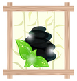 Wooden frame with cairn stones and eco green vector image