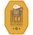 label for beer in retro style with wooden beer mug vector image