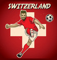 switzerland soccer player with flag background vector image