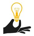 hand with lightbulb vector image