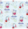 Seamless pattern Bunnies with Valentine hearts vector image