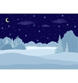 landscape winter forest night vector image