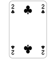 Poker playing card 2 club vector image