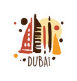 dubai tourism logo template hand drawn vector image