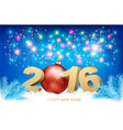 New Year background with a 2016 and a bauble vector image