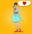 pop art young beautiful woman embracing cat vector image