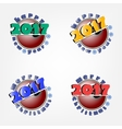 set of billiard ball and New Year 2017 vector image
