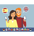 Online language learning concept vector image vector image