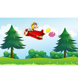A monkey riding in an aircarft with two balloons vector image