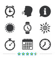 mechanical clock time icons stopwatch timer vector image