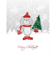 Christmas card design with funny bear vector image vector image