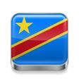 Metal icon of Democratic Republic of the Congo vector image