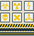 Warning signs symbols set Seamless tape vector image